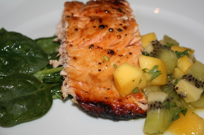 Grilled Tasmanian Salmon with Mango and Kiwi Salsa and Wilted Spinach